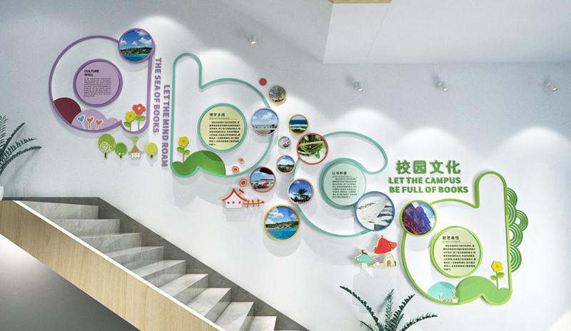 校园文化墙设计制作,物质文化与精神文化的综合展示。
